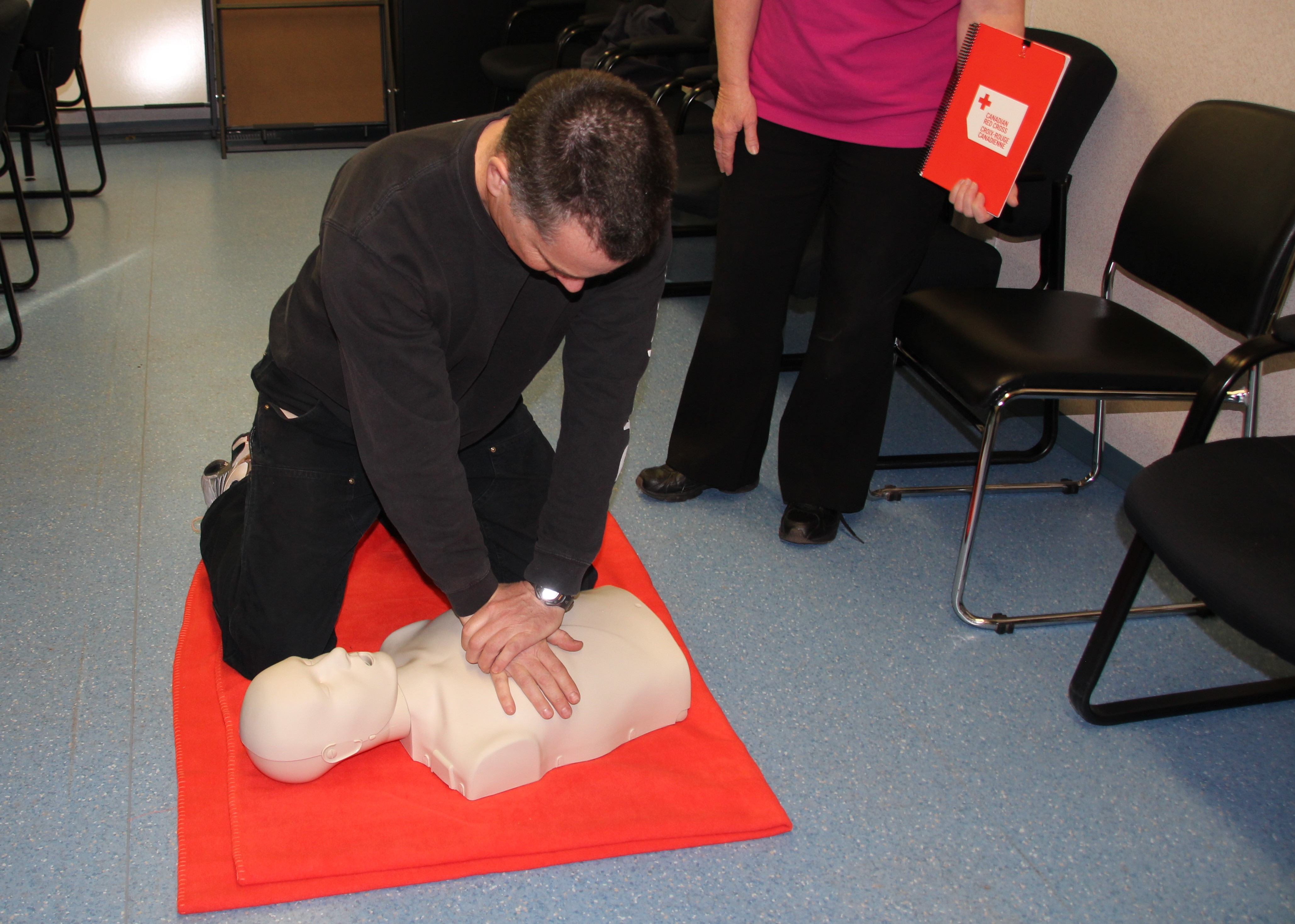 Stephen Tilley, Geological Technician practicing CPR